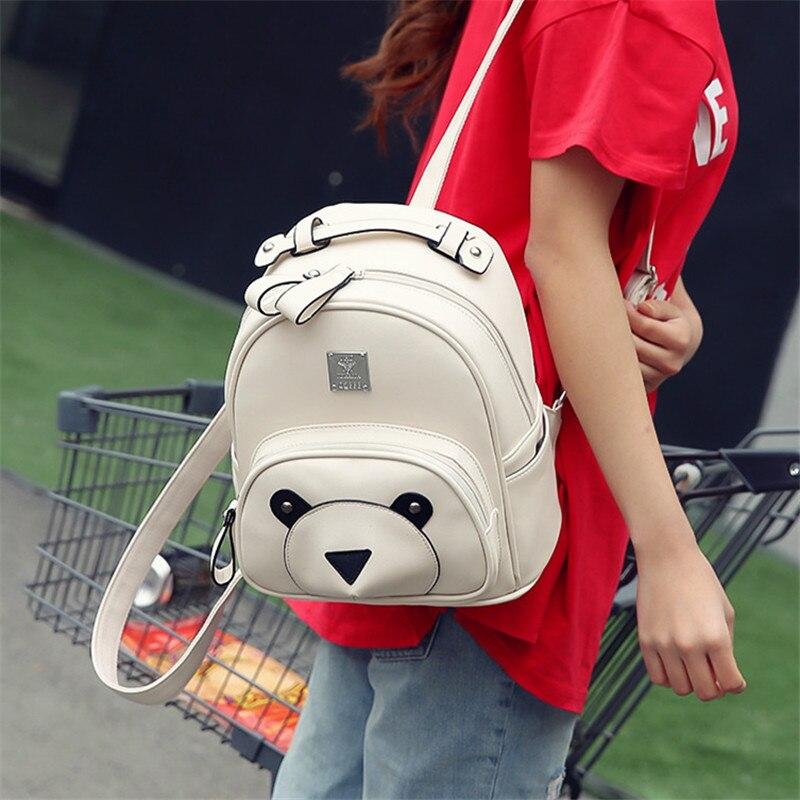 Korean version Japanese fashion Leisure cute cartoo Bear Wild Small fresh pink bag Cartoon travel woman