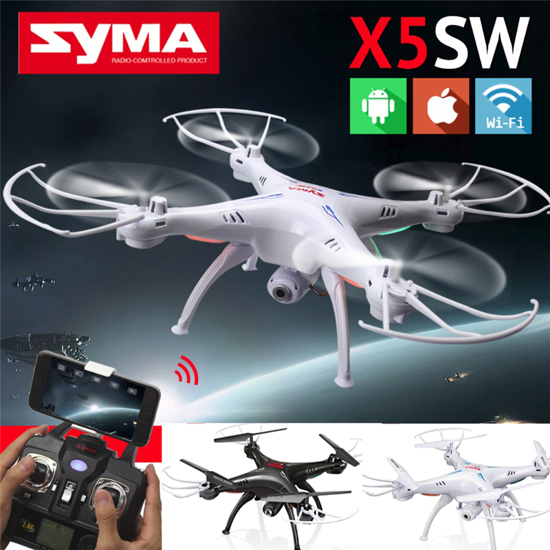 Syma X5SW FPV Explorers 2 2.4Ghz 4CH 6-Axis Gyro RC Headless Flying Quadcopter Drone with HD Wifi Camera RC Drone Black White jjr c jjrc h43wh h43 selfie elfie wifi fpv with hd camera altitude hold headless mode foldable arm rc quadcopter drone h37 mini