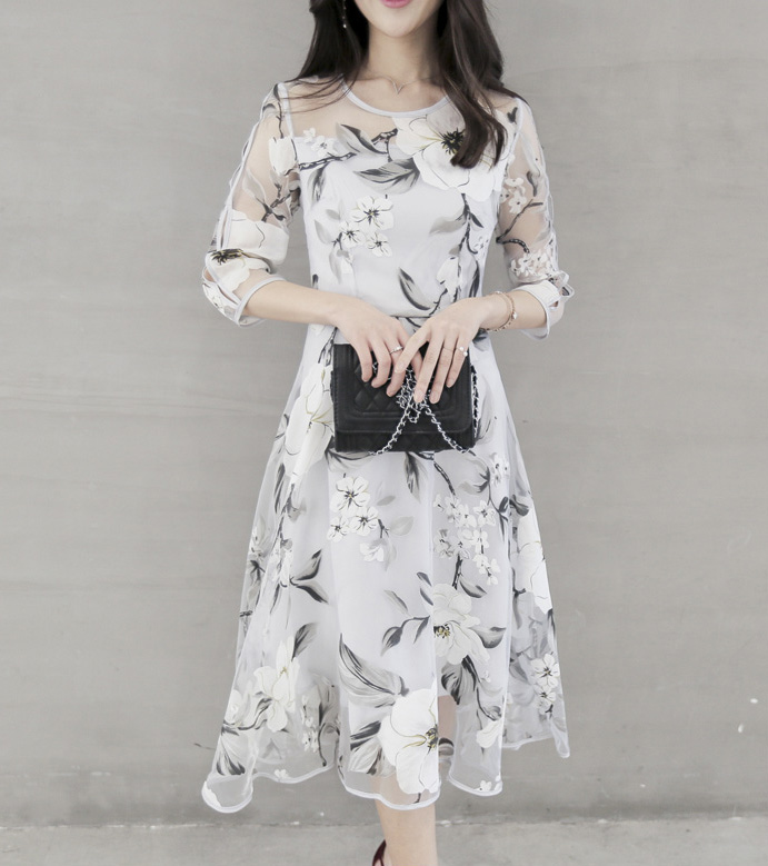 2018 new elegant print dress Women Summer Boho Party Beach Evening Floral mid Dress sexy vintage 3/4 sleeve o-neck slim dresses