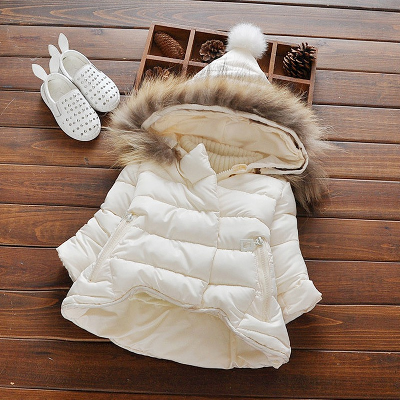 Warm Winter Baby Infant Girl Children Kids Fur Hooded Ball Thicken Down-Cotton Snow Wear Jacket Outwear Parkas Coat Casaco S4256