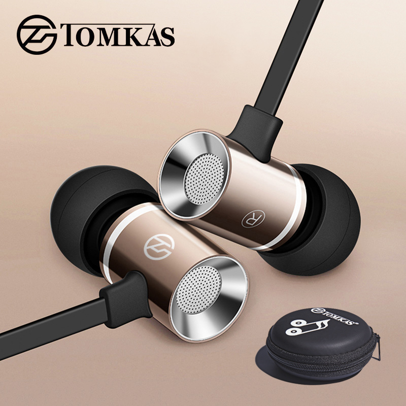 TOMKAS Wired Earphone for iPhone Samsung Xiaomi Phone In-Ear Stereo Sound Noise Canceling with Microphone Sport Earphones Case on AliExpress