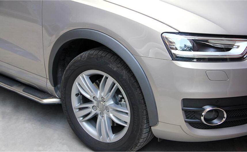 black plastic Front and Rear Black Fender Flares Wheel Arch fenders kits 4pcs For Audi Q3 2012-2015 car styling 10pcs plastic set wheel arch fender flares cover trim for audi q5 2010 2011 2012 2013 2014 2015