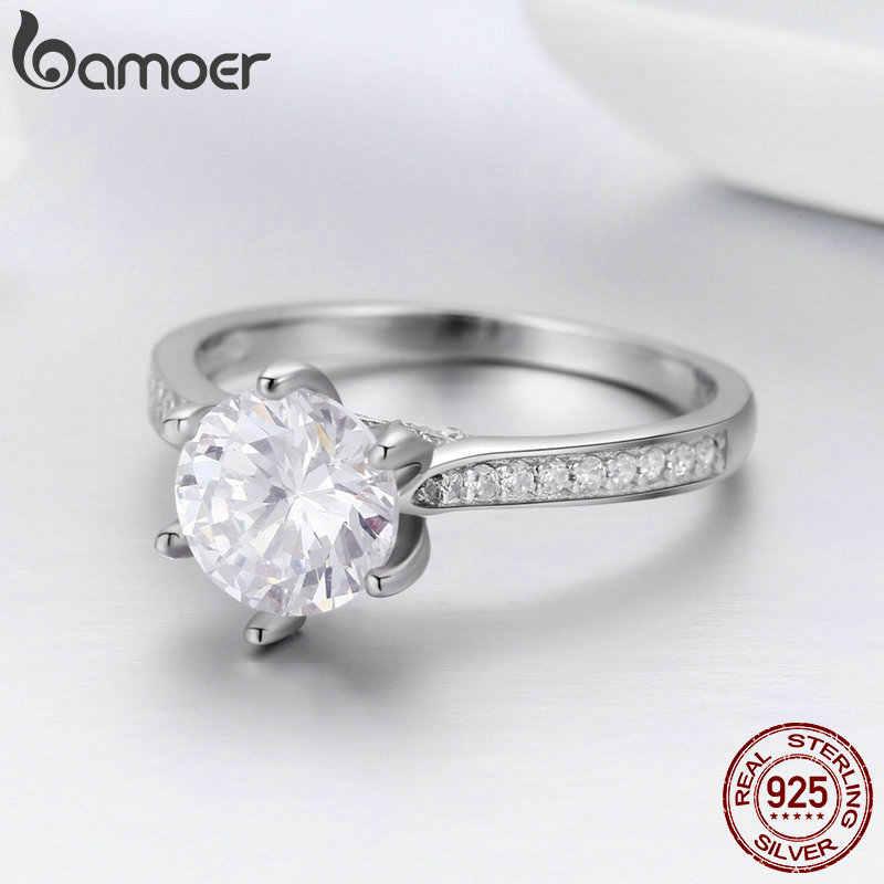 BAMOER แท้ 925 เงินแหวน Princess Square CZ แหวนเงินเครื่องประดับ SCR342