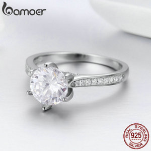 Image 4 - BAMOER High Quality 925 Sterling Silver Wedding Ring Princess Square CZ Finger Rings for Women Silver Engagement Jewelry SCR342