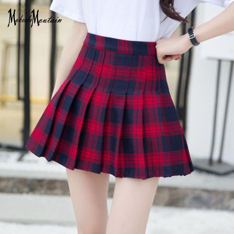 2018 Summer Harajuku Lolita Schoolgirl Mini Plaid Skirt Women Korean Fashion Streetwear Harajuku Kawaii Short Skirts
