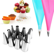 14PCS/SET Silicone DIY Icing Piping Cream Pastry Bags + 12PCS Nozzle Set Cake Decorating Tools Mould + Coupler Converte