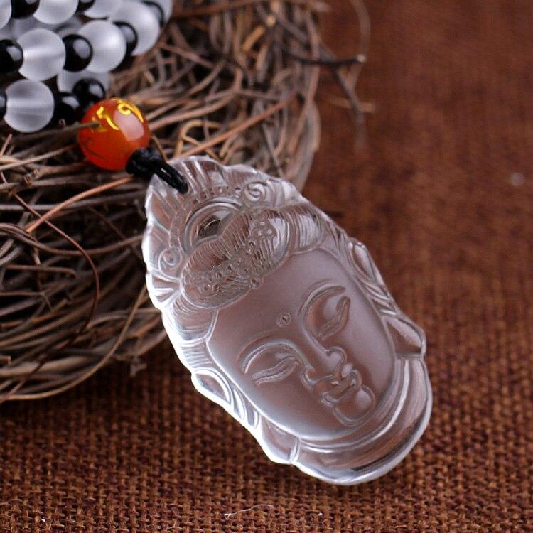 Un véritable pendentif en cristal blanc naturel bijoux et coulé Guanyin paix symbole mauvais esprits transfert corps