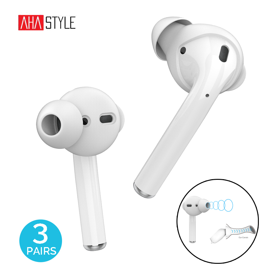 AhaStyle 3 Pairs Silicone Earbuds Covers Case for Apple AirPods Storage Hook Pouch + Anti-Slip Ear Tips for EarPods Accessories