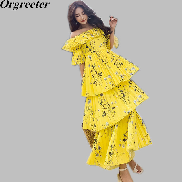 3d12d9ff50a0 Self Portrait Chiffon Pleated Boho Dress 2018 Summer Long Dress Women Sexy  Off Shoulder Yellow Floral Printed Tiered Dresses