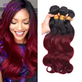 7A Burgundy Brazilian Hair Body Wave Two Tone Brazilian Hair Dark Root Ombre Blonde/Red Color Hair 3 Bundles T Ombre Human Hair