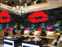 custom photo wallpaper Retro lipstick graffiti ktv bar wallpapers for living room photo wall murals wallpaper