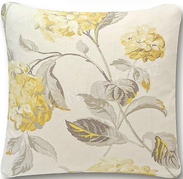 New Shabby Chic Hydrangea Camomile Yellow Grey Floral Fabric Cushion Cool Hydrangea Decorative Pillows