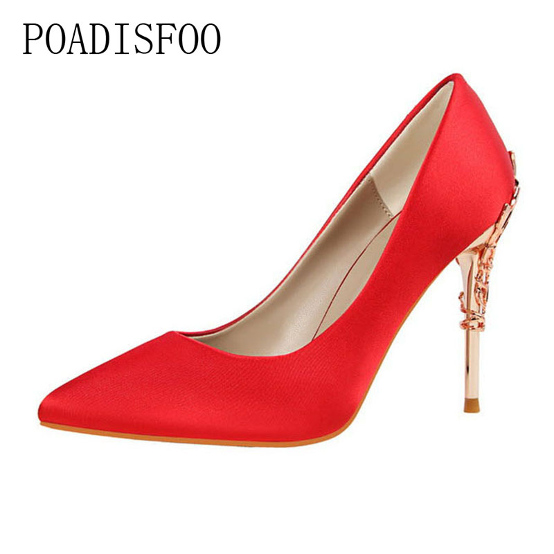 Sexy Fashion With Metal Heel Thin Shoes With high-heeled Shallow Pointed Pointed Silk Satin Shoes .PSDS-9219-2 [328] women autumn fashion shoes pu skin shallow low heeled shoes with high heel pointed shoes for ol lss 888