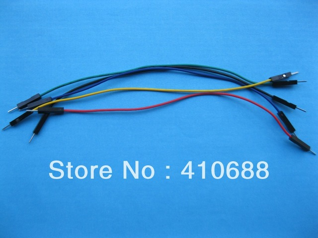 50 pcs 2.54mm 1 Pin 26AWG Jumper wire Male to Male 5 color 15cm 6inch