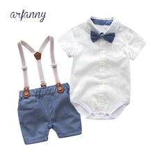 купить Summer Style Baby Boy Set Fashion Boys Clothes white T shirt Bow tie+pants newborn infant clothing suspenders gentleman suit дешево