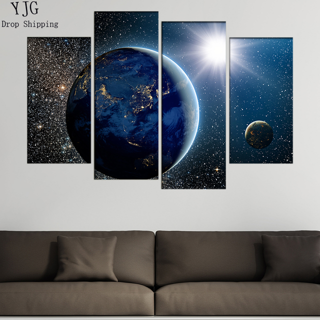 Home Decor Posters Wall Art Frames 4 Panel Beautiful View Of Earth Sun Moon Modern Paintings