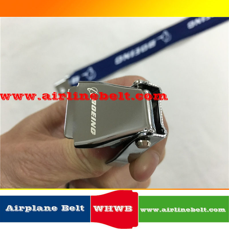Blue Boeing seat belt airplane buckle lanyard with ID case