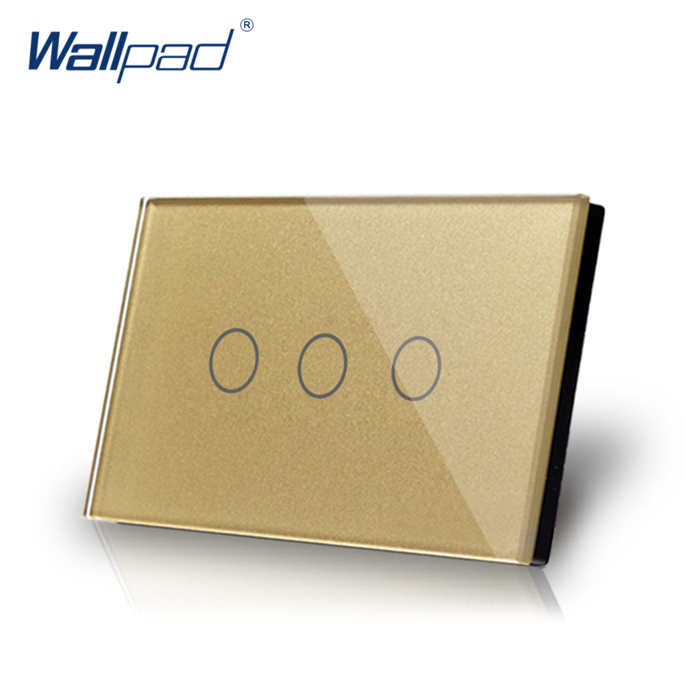 3 Gang 1 Way Smart Touch Switch US/AU 118*72mm Wallpad Luxury Crystal Gold Glass LED Indicator Electrical Wall Switch Plate smart home touch switch crystal glass panel wall switch 1 gang 2 way led indicator us au light touch screen touch switch