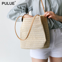 Vintage Handmade Woven Straw Bag Women Leather Straps Shoulder Summer Travel Beach Bucket Casual Totes Handbag