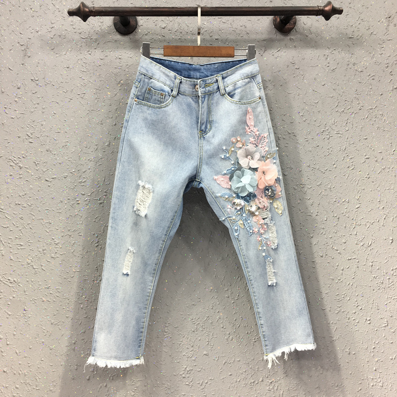 New Jeans Nine minute Pants Female Fashion Embroidery Nail Pearl Flower Slender High waist Straight Trousers
