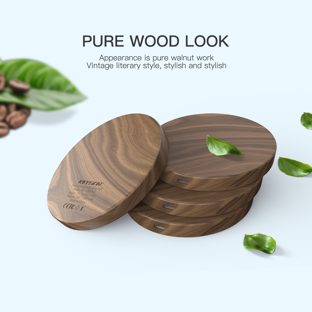 10W 7.5W 5W Qi Wireless Charger Fast Charging Wood Pad for iPhone and Samsung