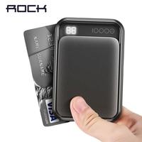 Rock 미니 디지털 디스플레이 전원 은행 10000 mah 휴대용 외부 듀얼 usb powerbank 아이폰 x 8 7 6 삼성 s8 s9 샤오미|보조 배터리|   -