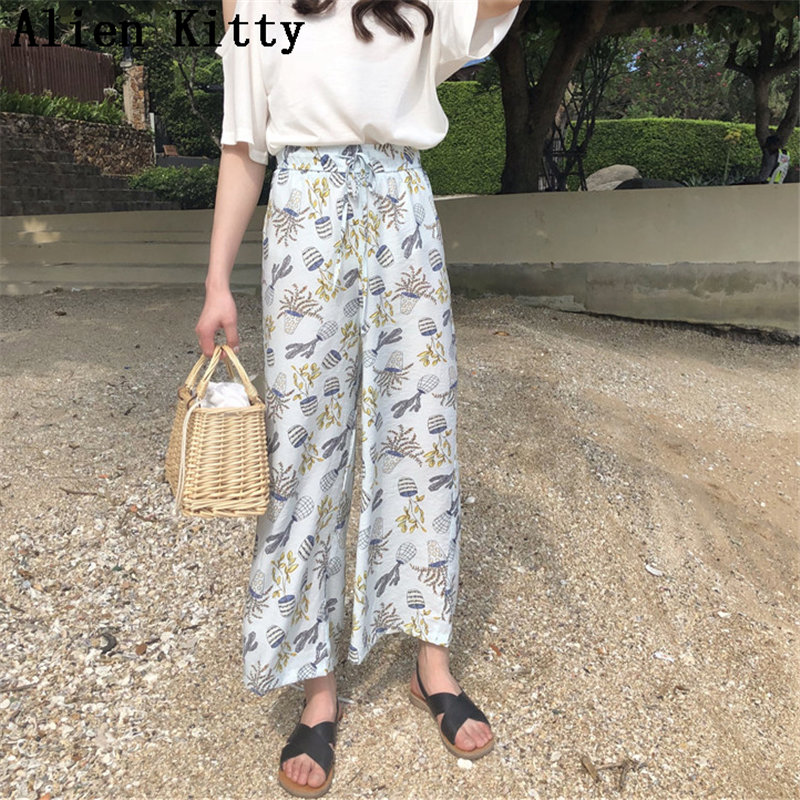 Alien Kitty Fresh Print Elastic High Waist 2019 Autumn Female Casual Women All-Match Loose Ankle Length   Wide     Leg     Pants   2 Colors