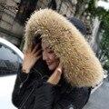 65 cm 75 cm 80 cm Tamaño Grande 100% Natural Real del Mapache Cuello de Piel Bufanda de las mujeres de Invierno Abrigo de Cuello Tapa Larga Caliente Genuina de la Piel Verdadera Sarf