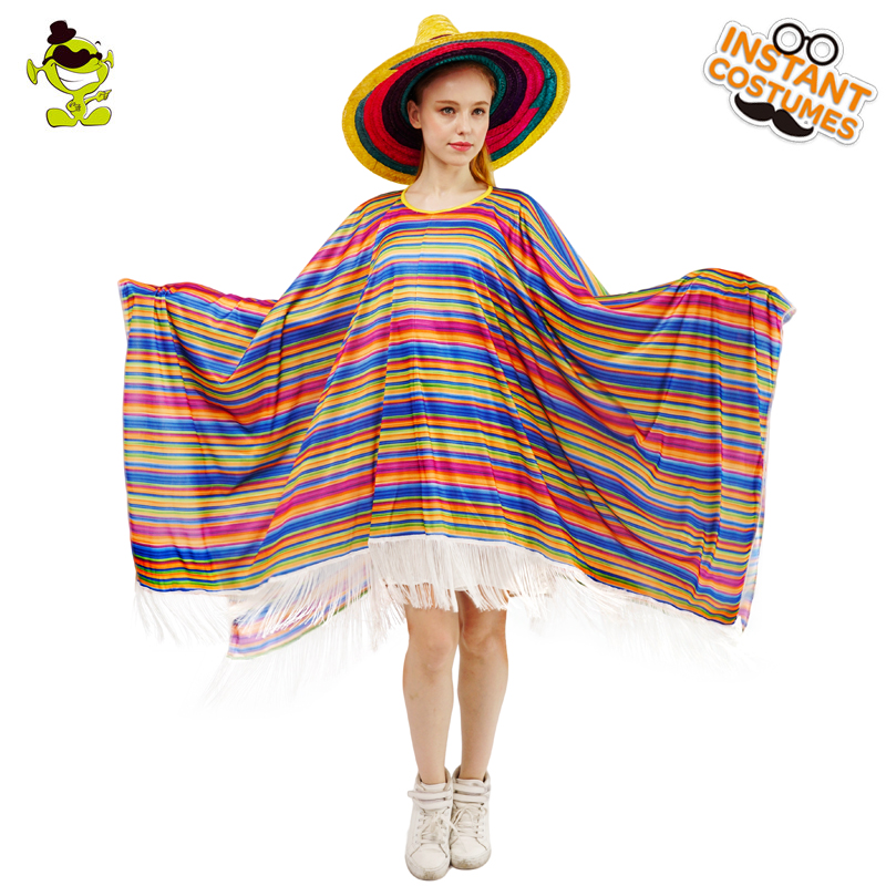 DSPLAY Women Newly Design Cosplay Fashionable Carnival Pretty Exotic Cape Roleplay Original Stripe Mexican Poncho Costume