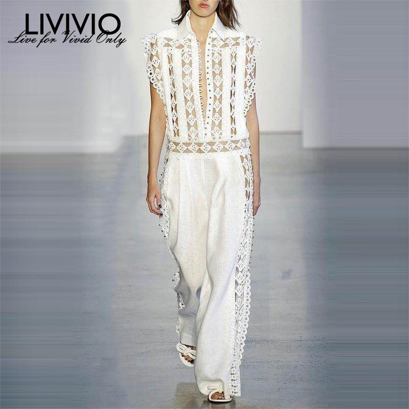 [LIVIVIO] 2019 Hollow Out Jumpsuits For Women Beading Sleeveless Romper Wide Leg Pants Female Summer Korean Fashion Streetwear