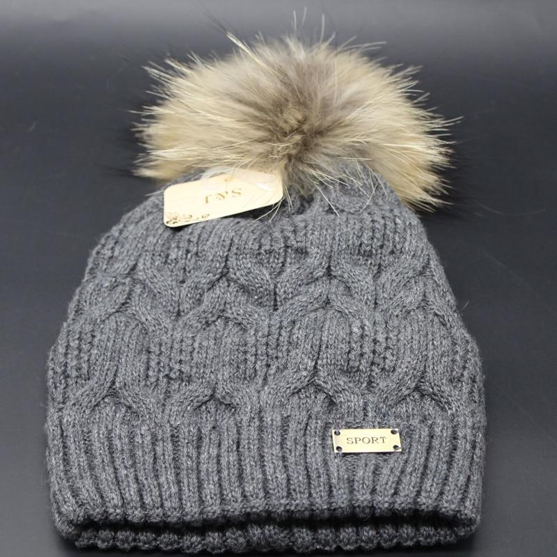 2018 Nueva Moda de Invierno Gorros de Lana Sombrero de Piel Pompones - Accesorios para la ropa - foto 5