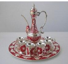 8 PCS/set alloy metal silver red wine set kitchen dining bar 6 wine cups vinho 1 jar 1 tray embossed carved 319B