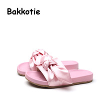 Bakkotie 2017 New Arrival Fashion Child Summer Baby Casual Shoe Black Cute Girl Slippers Bow Pink Kid Brand Slip On Green Mules