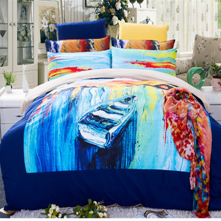 3pcs/4pcs moon boat rainbow Bedding Set Twin/Full/Queen Size Seine River duvet cover without filler Free shipping via Fedex