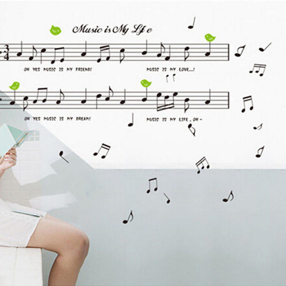 Aliexpress buy removable listen music notes wall sticker getsubject aeproduct amipublicfo Gallery