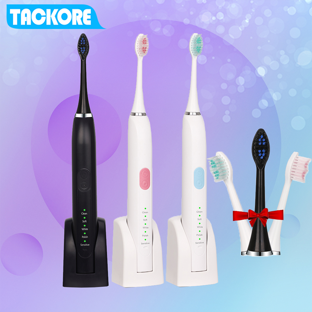 New Smart 5 Modes Sonic Toothbrush Rechargeable Ultrasonic Teeth Tooth Brush 2pc Heads 2 Minutes Timer Electric brush image