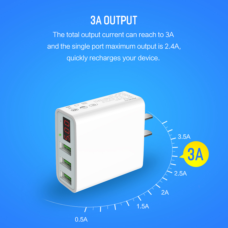 DCAE USB Charger 3 Ports LED Display Smart Mobile Phone Charger For iPhone Samsung Xiaomi Tablet Wall Travel Adapter EU US Plug