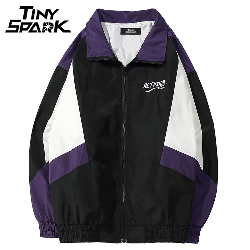 2018 Color Block Loose Track Jacket Casual Patchwork Windbreaker Full Zipper Up Coat Hip Hop Jacket Streetwear 90s Spring Autumn