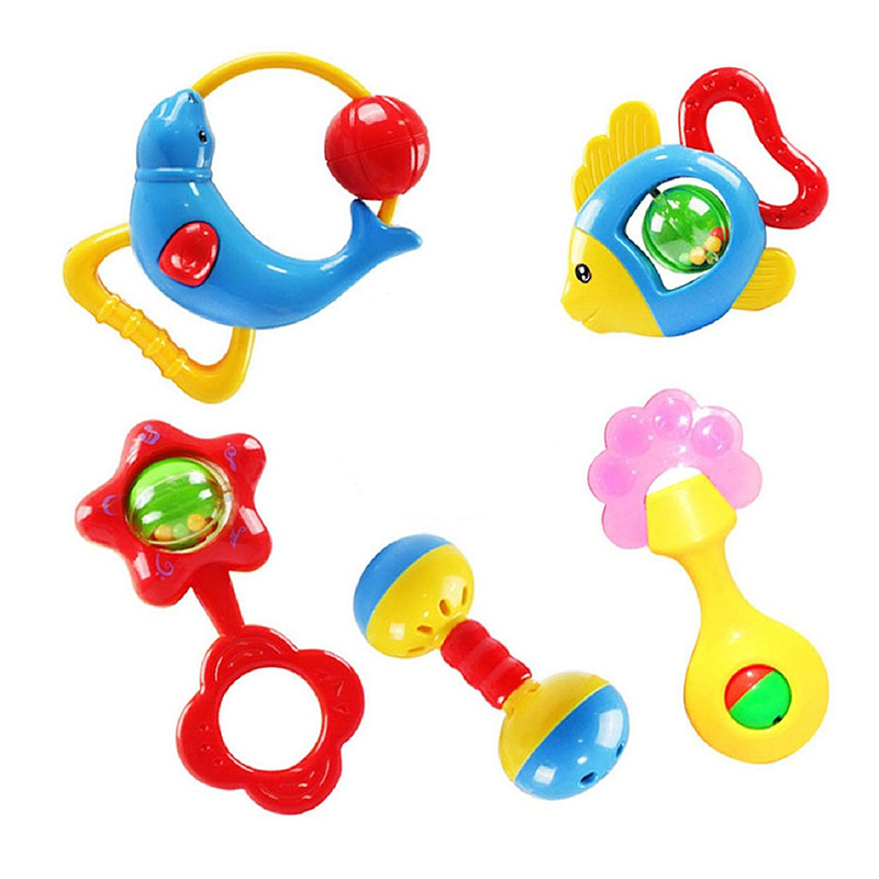 Christmas gift 5 pcs animal bells lovely rattle development toy for kids baby