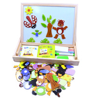 Multifunctional Wooden Jungle Animal Magnetic Puzzle Doodle Drawing Board Blackboard Learning Education Toys For Children