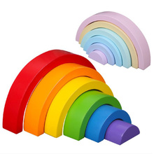 DROPSHIPPIN 6Pcs wooden rainbow blocks wooden building blocks For Kid Rainbow Building Blocks Montessori educational wooden toy