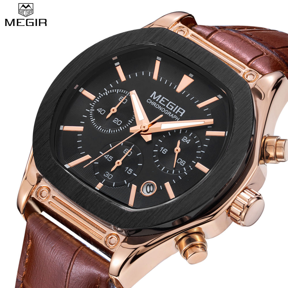 ФОТО 2016 New Arrival MEGIR Brand Leather Strap Business Man's Watch Chronograph Men Analog 24 Hour & 6 Hand Clock Army Sport Watches