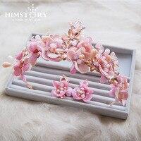 HIMSTORY Sweet Bride Pink Crystal Big Baroque Style Crown Tiara Set Luxury Brides Girls Hair Accessories