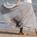 Mujeres de la gasa del color sólido plisado Retro cintura elástica falda larga Maxi gris completo de la princesa de hadas faldas