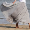 Women Chiffon solid color Pleated Retro Elastic WaistBand Maxi Long Skirt grey full skirts Princess Fairy full skirts