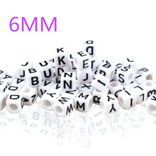 Fashion Alphabet DIY Acrylic Loose Beads For Jewelry Making Cube DIY Loose Beads 6mm From A to Z 100 pieces/lot ZB100
