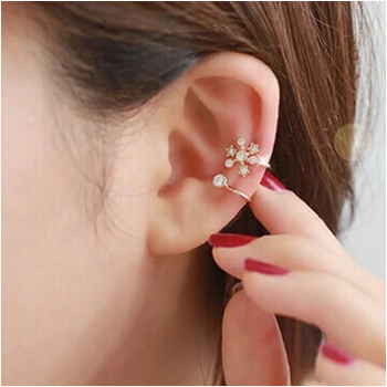 E292 Fashion gold Color snow flower fairy crystal no pierced clip earrings ear cuff for women золотые серьги по уху