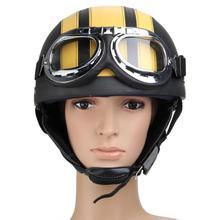 Motorcycle Helmet Unisex Men Women Bike Bicycle Helmet Motorcycle Motor Open Face Half Helmet + Visor + Protective Goggles Half