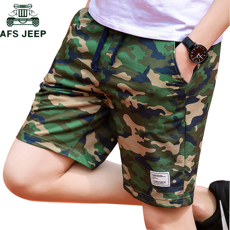 AFS JEEP Brand Summer Camouflage Shorts Men Army Military Casual Shorts Homme Elastic Waist Beach Shorts Plus Size M-4XL