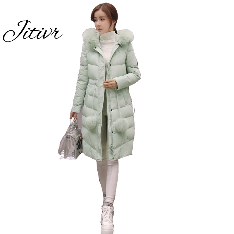 Newest Jitivr 2017 Winter Women s Cotton Clothing Slim Thick Clothes Solid Adjustable Cotton Padded Clothes